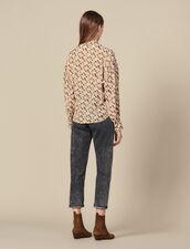 Top fluido, cuello con lazo estampado : Tops & Camisas color Beige