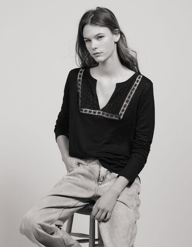 Camiseta De Lino Con Cuello Tunecino : Tops & Camisas color Negro