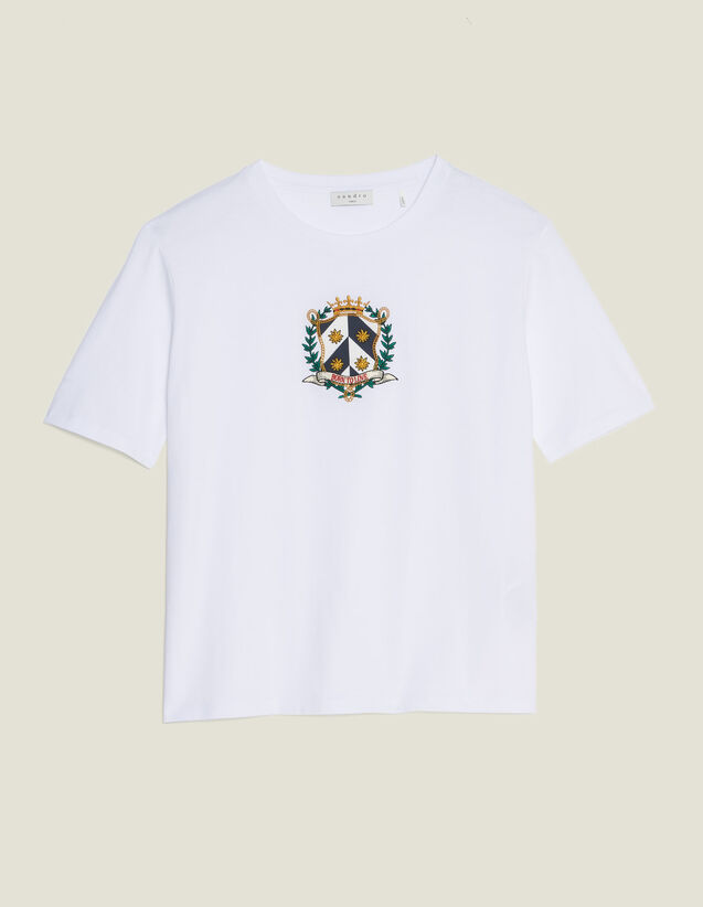 Camiseta Corta Con Bordado : Camisetas color Blanco