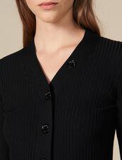 Cárdigan de punto fino de canalé : Jerseys & Cárdigans color Negro