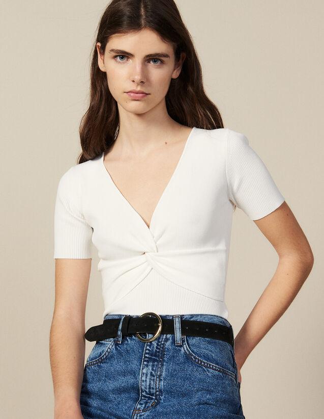 Top Corto De Punto De Canalé : Tops & Camisas color Blanco