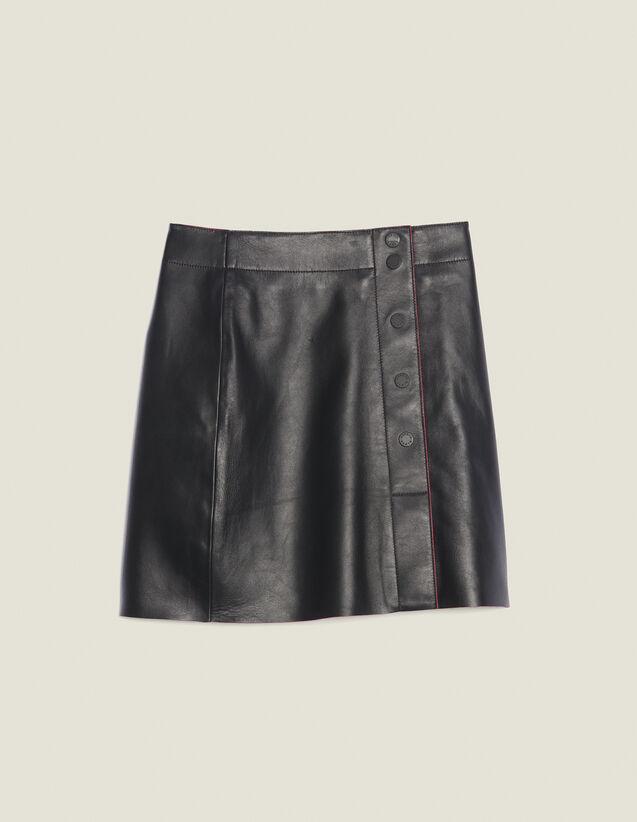 Falda De Piel De Corte Trapecio : Faldas & Shorts color Negro