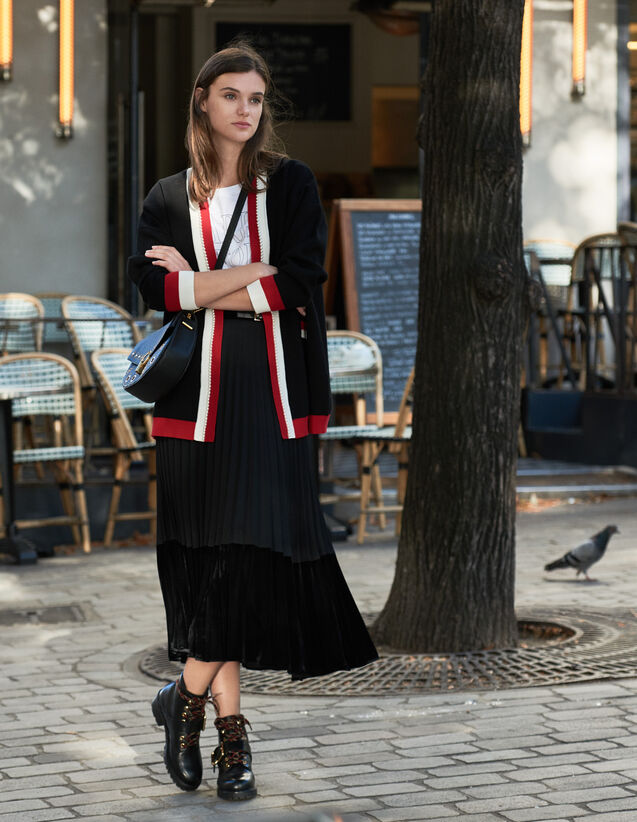 Cárdigan Oversized De Rayas En Contraste : Jerseys & Cárdigans color Negro
