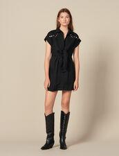 Vestido camisero con tachuelas de color : -50% color Negro