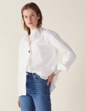 Camisa De Algodón Con Un Botón Joya : Tops & Camisas color Blanco