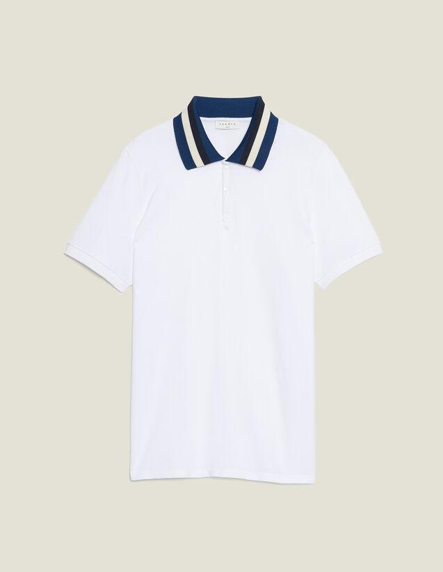 Polo De Algodón Con Cuello Varsity : Sélection Last Chance color Blanco