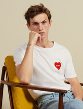 Camiseta De Algodón Con Corazón Adornado : Toute la Sélection color Blanco