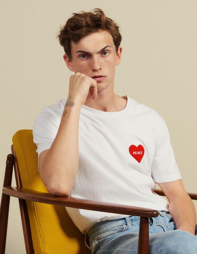 Camiseta De Algodón Con Corazón Adornado : Camisetas & Polos color Blanco