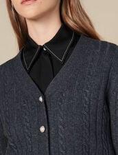 Cárdigan Corto Con Botones De Perlas : Jerseys & Cárdigans color Gris