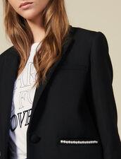 Chaqueta blazer adornada con perlas : Cazadoras & Chaquetas color Negro