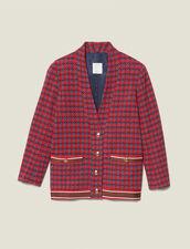 Cárdigan de tweed con botones joya : Cazadoras & Chaquetas color Rojo