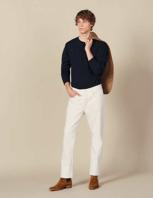 Vaquero ajustado de algodón : Toda la colección de Invierno color Blanco