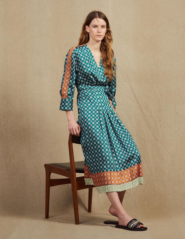 Vestido Largo De Patchwork De Estampados : null color Verde