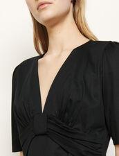 Camiseta con lazo y drapeado : Camisetas color Negro