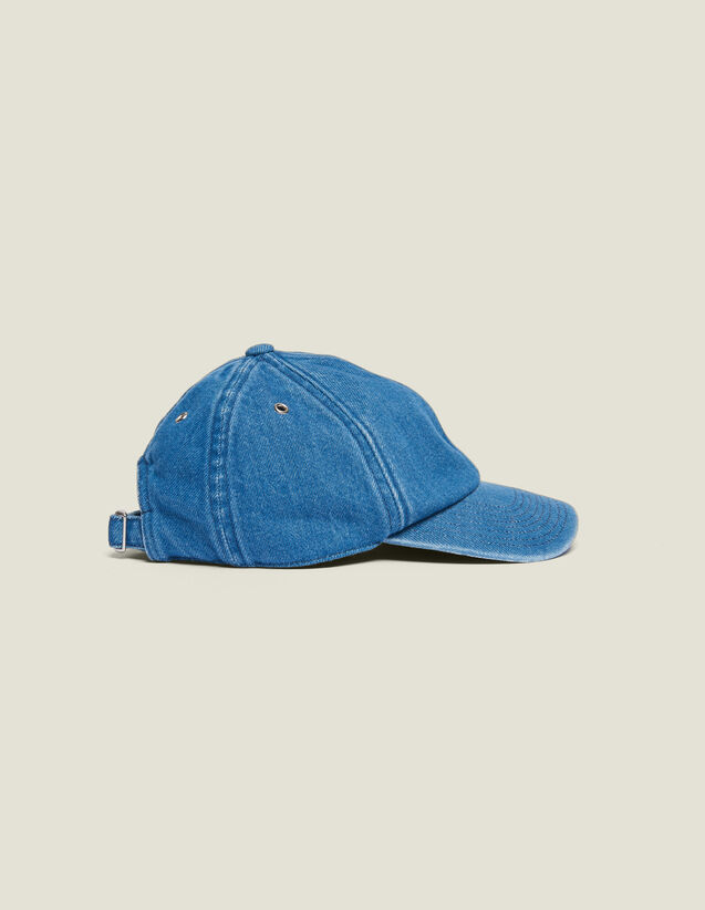 Gorra De Tejido Denim Desteñido : Gorras color Azul