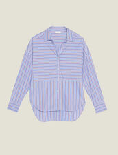 Camisa De Algodón Con Juego De Rayas : null color Azul
