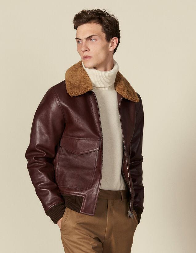 Flight jacket de piel, cuello de cordero : Cazadoras & Chaquetas color Negro