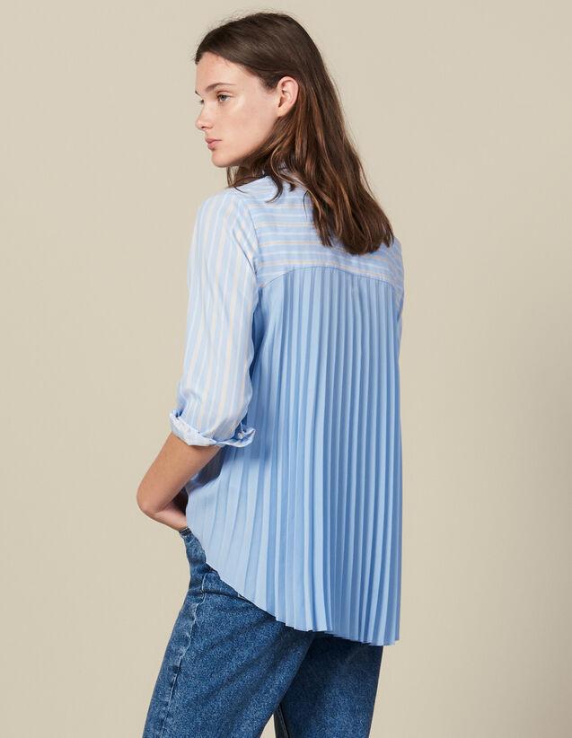 Camisa Asimétrica Con Inserto Plisado : Tops & Camisas color Ciel