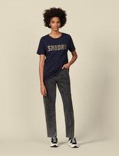Camiseta inscripción bordada y tachuelas : -50% color Marino
