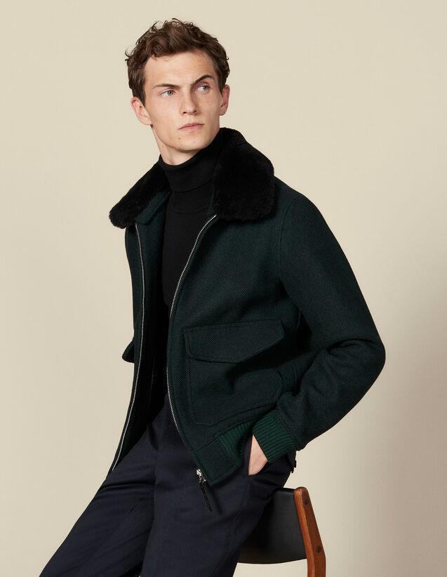 Chaqueta de lana Chevron : Cazadoras & Chaquetas color Vert foncé