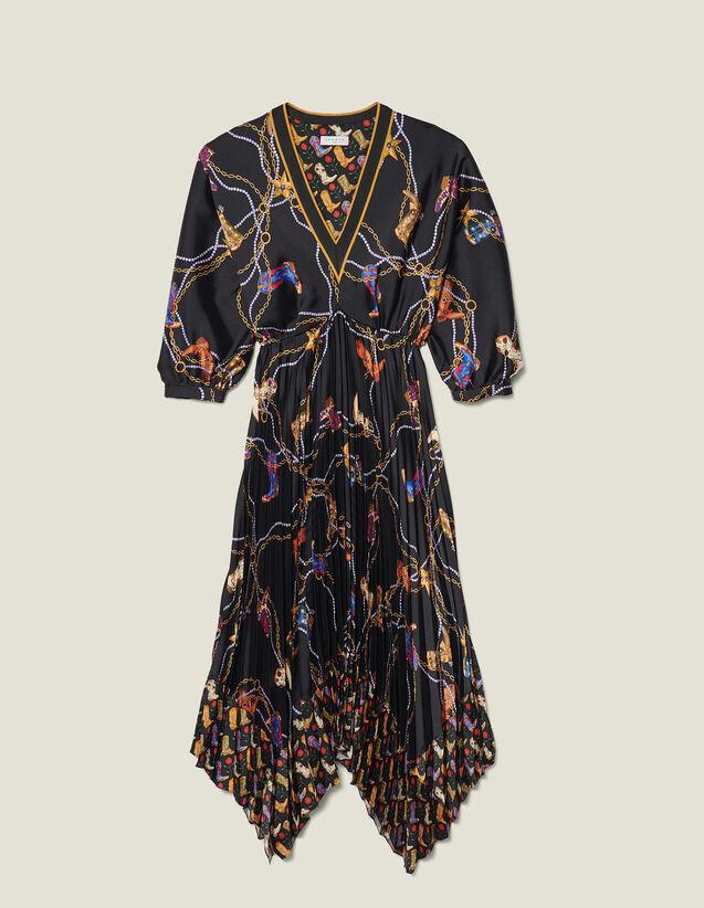 Vestido largo estampado, falda plisada : Vestidos color Negro