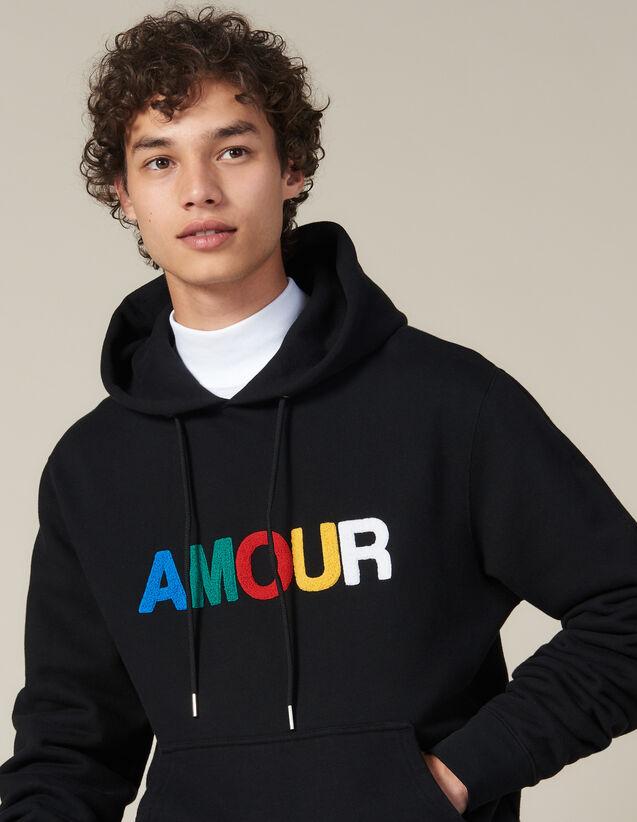 Hoodie Con Parche Amour : Sudaderas color Negro