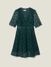Vestido corto con escote de guipur : Vestidos color Verde