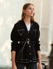 Cárdigan Adornado Con Tachuelas : Jerseys & Cárdigans color Negro