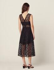 Vestido midi de guipur inglés : FBlackFriday-FR-FSelection-Robes color Negro