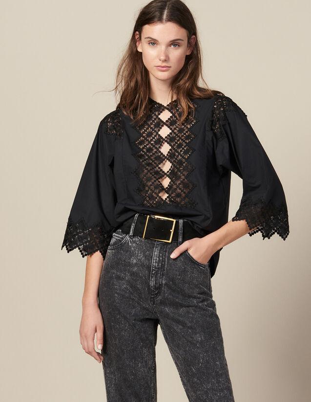 Top Con Insertos De Guipur : Tops & Camisas color Negro