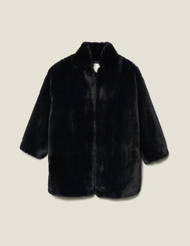 Abrigo De Imitación De Piel : Chaquetas & Cazadoras color Negro