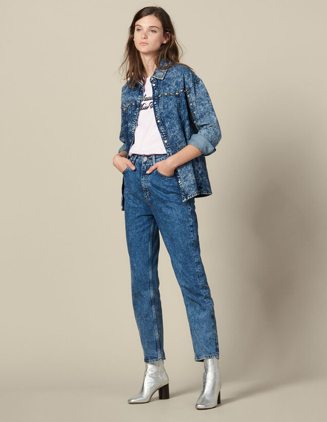 Camisa Vaquera Adornada Con Tachuelas : Tops & Camisas color Blue Night - Denim