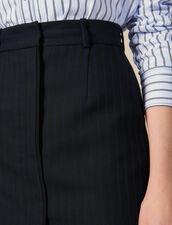 Falda Corta De Sastre De Rayas Finas : Faldas & Shorts color Negro