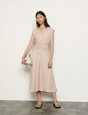 Vestido largo de rayas fantasía : Vestidos color Rose / Jaune