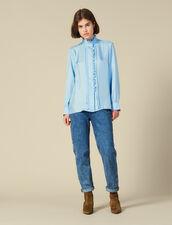 Camisa De Seda Bordada Con Volantes : -40% color Ciel
