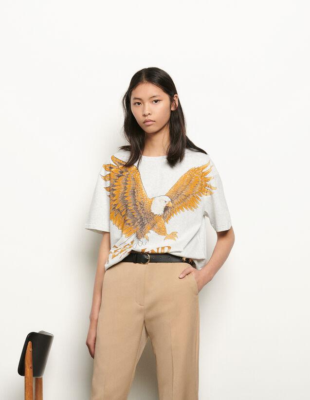Camiseta oversize con estampado : Camisetas color Gris