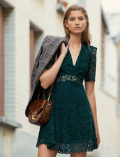 Vestido corto con escote de guipur : FBlackFriday-FR-FSelection-30 color Verde