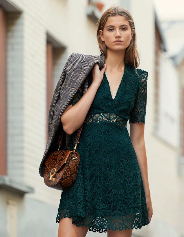 Vestido corto con escote de guipur : FBlackFriday-FR-FSelection-30 color Verde