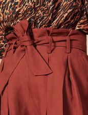 Short Con Pliegues Y Cinturón Anudable : -50% color Wine