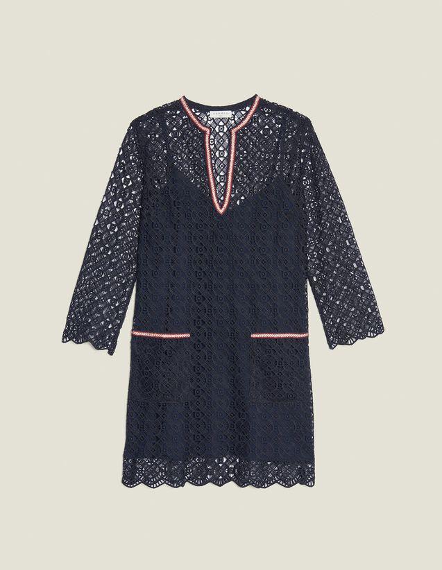 Vestido Corto De Guipur : null color Marino