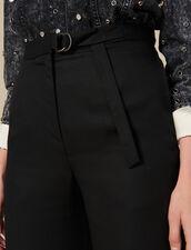Pantalón ancho de talle alto : -50% color Negro