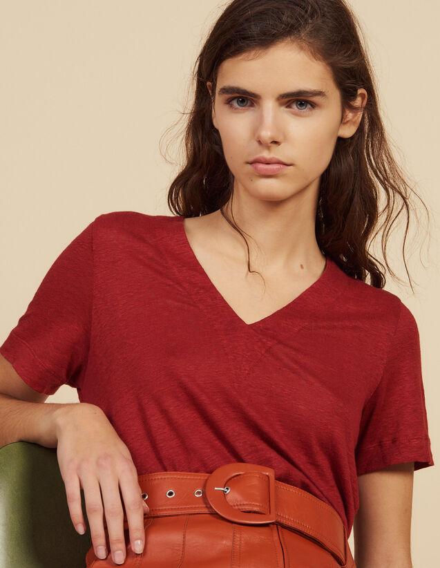 Camiseta De Lino De Manga Corta : Camisetas color Terracota