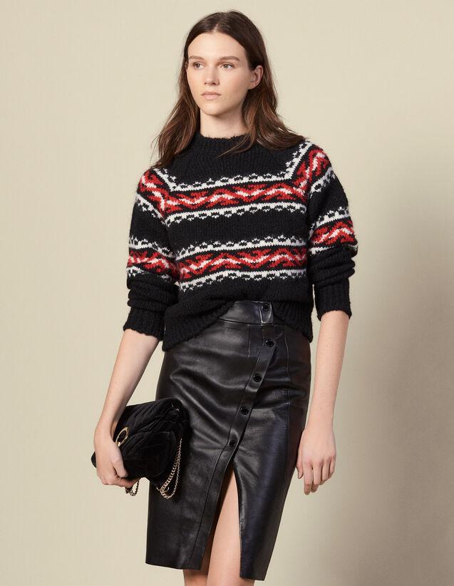 Falda cruzada de piel con abertura : Faldas & Shorts color Negro