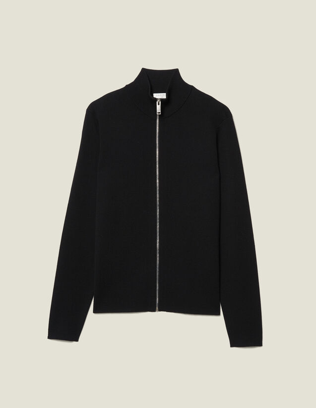 Cárdigan De Lana Con Cremallera : Jerseys & Cárdigans color Negro