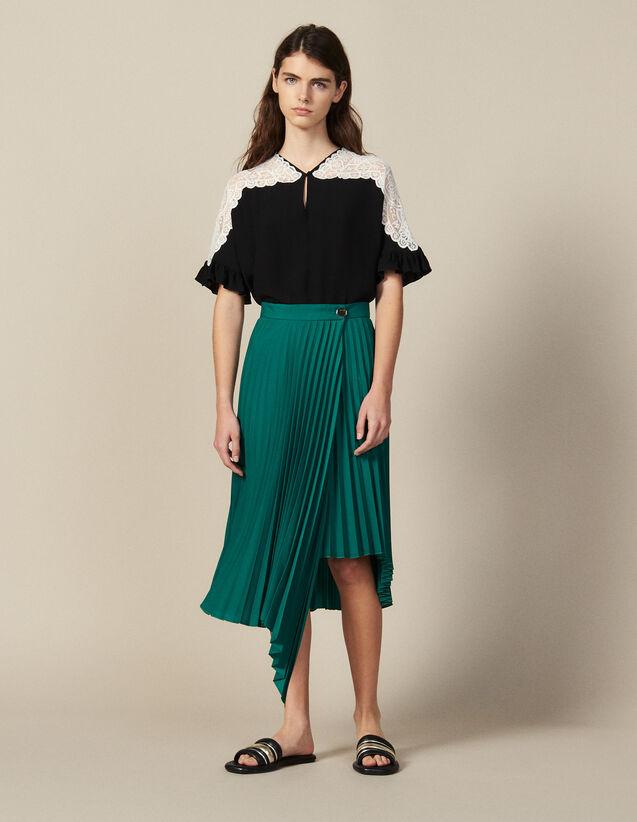 Falda Cruzada Plisada Asimétrica : null color Verde