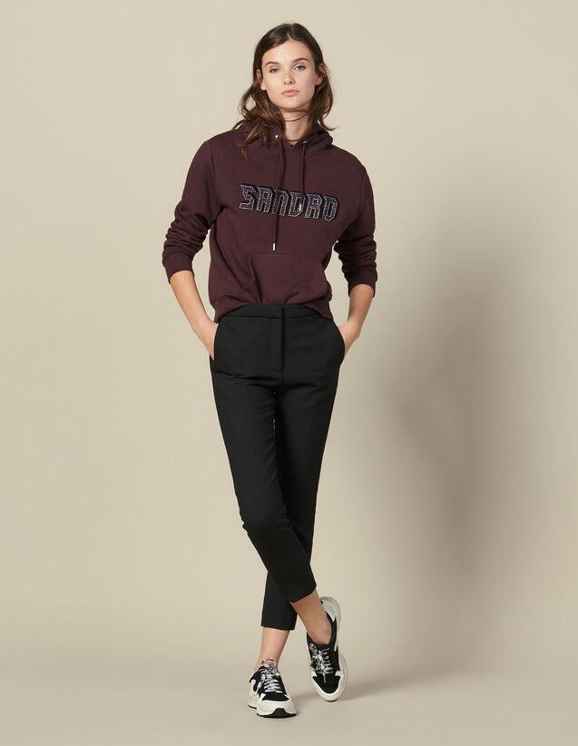 Pantalón Liso Con Pinzas : Pantalones color Negro