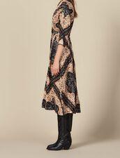 Vestido midi escotado con estampado : Colección de Invierno color Negro