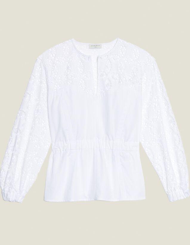 Top De Dos Materiales Con Encaje : null color Blanco