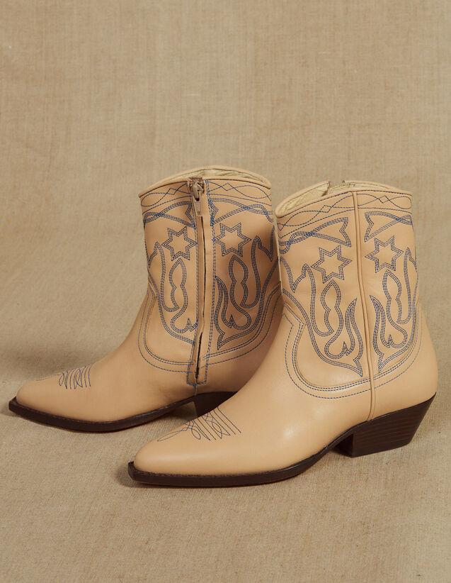 Botines Cowboy De Piel Con Bordados. : Coleccion de verano color Arena
