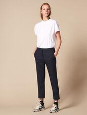 Pantalón Liso Con Pinzas : Pantalones color Marino